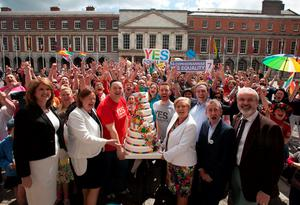 At the celebrations in Dublin Castle were supporters and campaigners for the Yes Equality campaign, including Minister for Justice Francis Fitzgerald. Photo: Collins