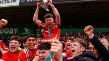 CBS Roscommon captain Ciaran Purcell lifts the cup as his team-mates celebrate after the Top Oil Connacht Schools Senior A Cup Final win over St Muredach's College at The Sportsground in Galway. Photo by Matt Browne/Sportsfile