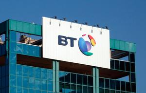 The logo of BT is seen outside the headquarters in Milan, Italy