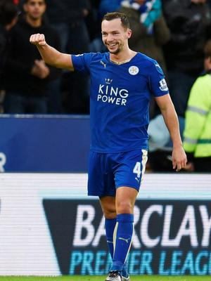 Danny Drinkwater celebrates after scoring the first goal for Leicester