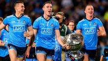 Shaping up for a knockout: Dublin players (from left) John Small, Brian Fenton and Ciarán Kilkenny celebrate last year's final replay win over Kerry, but if the format were to change this year, there might be other banana skins to worry about. Photo: Eóin Noonan/Sportsfile
