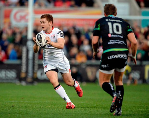 Ulster's Paddy Jackson in action against Ospreys' Dan Biggar. Photo: Oliver McVeigh/Sportsfile