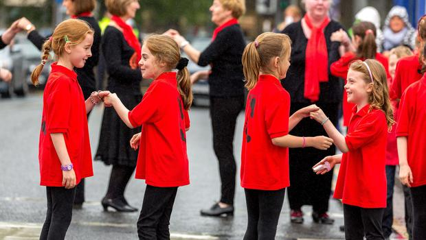 Members of Cos Cos Sean-Nós Dance Company from Rathcormac NS, performing on Hyde Bridge, at the Fleadh Cheoil Open Day in Sligo. Photo: James Connolly 19JUN15