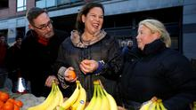 Sinn Fein leader Mary Lou McDonald reacts as she meets with members of the public on Moore Street in Dublin Photo: REUTERS/Phil Noble