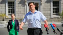 Balancing act: Green Party leader Eamon Ryan during a press briefing on the plinth of Leinster House yesterday. Photo: Gareth Chaney/Collins