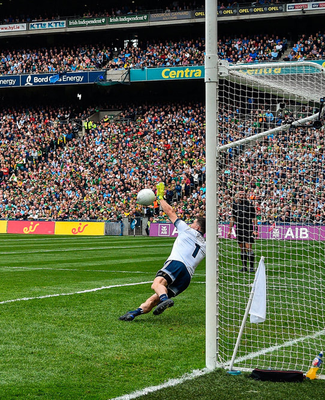 Stephen Cluxton saves a penalty from Kerry's Paul Geaney during the All-Ireland SFC Final at Croke Park last September