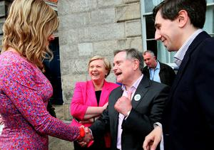 'Panti Bliss' aka Rory O'Neill with (from left) Minister for Justice and Equality Frances Fitzgerald, Minister for Public Expenditure and Reform and Junior Finance Minister Simon Harris  at the Central Count Centre in Dublin Castle, Dublin, after Zappone proposed live on TV as votes are continued to be counted in the referendum on same-sex marriage.   Brian Lawless/PA Wire