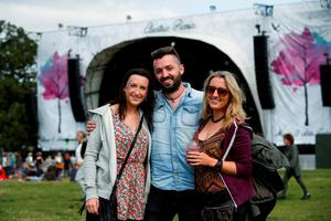 FAO DAVID CONACHY : Pictured (l-r) was Sarah Borgan, Darren and Pamela Keogh from Enfield at Electric Picnic, Stradbally, Co Laois. Picture Conor McCabe.