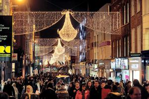 Christmas shoppers on a busy Grafton Street as business returns to near peak levels. Picture:Arthur Carron