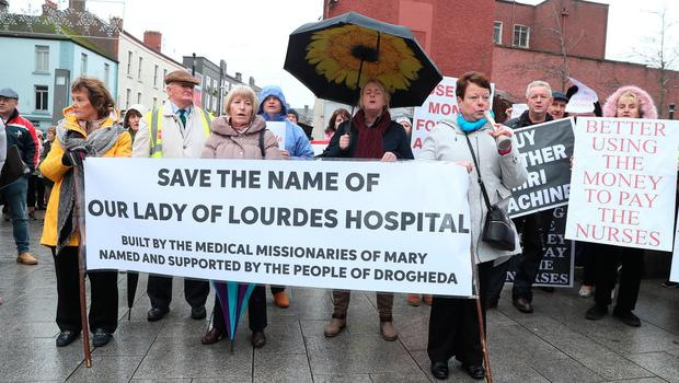Disapproval: Protesters gather in the centre of Drogheda ahead of the march to Our Lady of Lourdes Hospital. Photo: Paul Connor