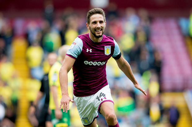 Conor Hourihane of Aston Villa scores his second for Aston Villa during the Sky Bet Championship match between Aston Villa and Norwich City at Villa Park on August 19, 2017 in Birmingham, England. (Photo by Neville Williams/Aston Villa FC via Getty Images)