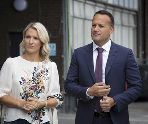 Taoiseach Leo Varadkar with Minister Helen McEntee picture at Dublin port to view the new  Brexit infrastructure which has been installed. Picture: Arthur Carron