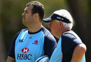 Alan Gaffney (right) with Michael Cheika at the Waratahs training session. Photo credit: Mark Kolbe/Getty Images