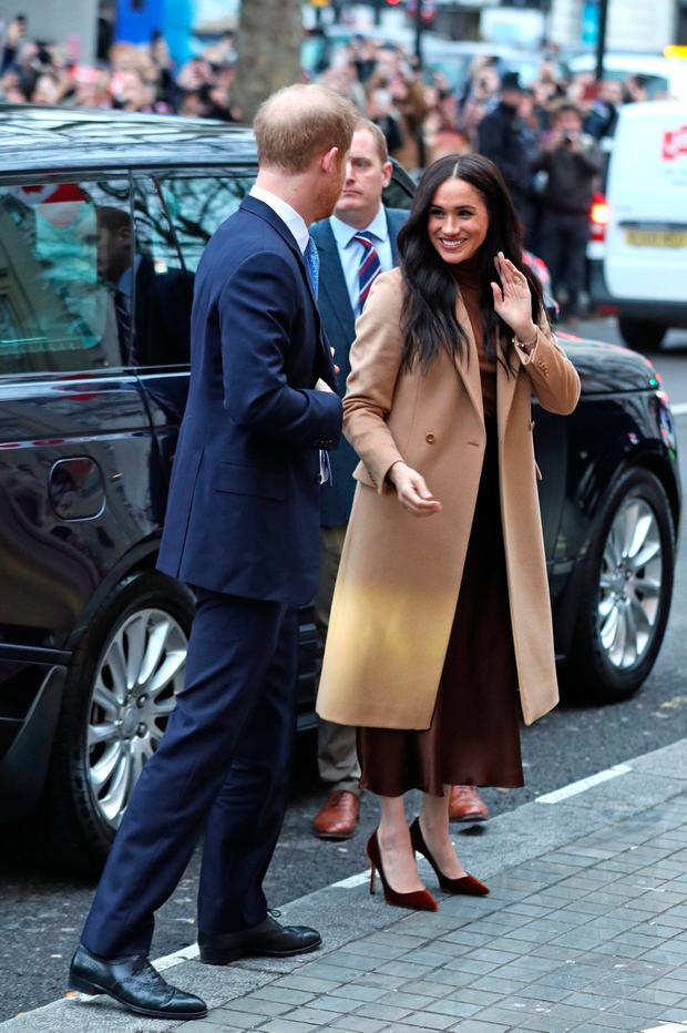 The Duke and Duchess of Sussex arriving for their visit to Canada House, central London, to meet with Canada's High Commissioner to the UK, Janice Charette, as well as staff, to thank them for the warm hospitality and support they received during their recent stay in Canada. PA Photo. Picture date: Tuesday January 7, 2020. Photo credit should read: Yui Mok/PA Wire