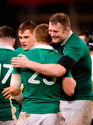 18 March 2017; Donnacha Ryan and Andrew Conway of Ireland celebrate following the RBS Six Nations Rugby Championship match between Ireland and England at the Aviva Stadium in Lansdowne Road, Dublin. Photo by Sam Barnes/Sportsfile