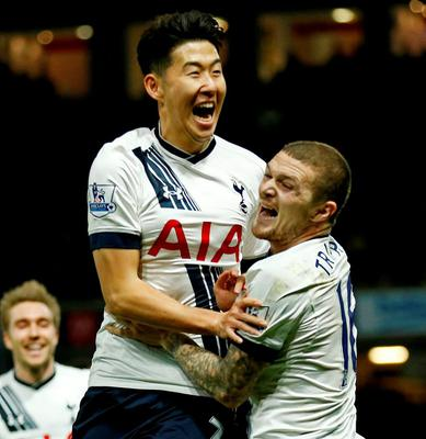 Son Heung Min celebrates scoring the second goal for Tottenham with Kieran Trippier