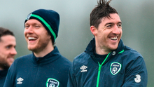 Burnley team-mates Jeff Hendrick and Stephen Ward share a joke during training in Abbotstown. Photo: Sportsfile