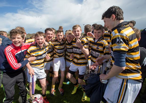 Colaiste Eoin celebrate after winning the Dublin Juvenile A Hurling Final: Colaiste Eoin v Colaiste Eanna at O'Toole Park. 29/4/2015 Picture by Fergal Phillips.
