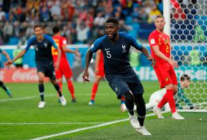 BIG SAM: France defender Samuel Umtiti celebrates scoring what proved to be the only goal of the game in Tuesday's semi-final. Photo: Natacha Pisarenko/AP
