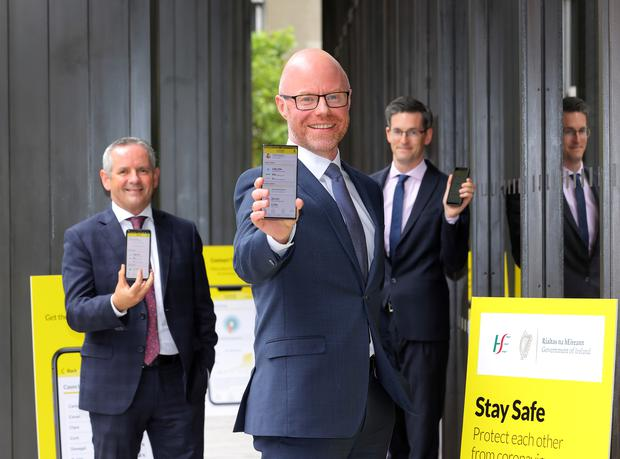 HSE chief Paul Reid, Health Minister Stephen Donnelly and acting Chief Medical Officer Dr Ronan Glynn launch the Covid-19 Tracker App