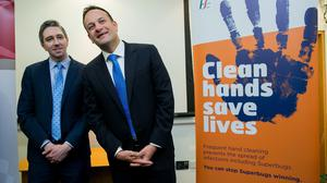 Media presence: Leo Varadkar and Simon Harris have been out in force during the virus crisis. Photo: Gareth Chaney, Collins