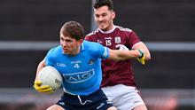Michael Fitzsimons of Dublin in action against Ian Burke of Galway during the Allianz Football League Division 1 match at Pearse Stadium in Galway. Photo: Ramsey Cardy/Sportsfile