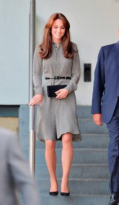 The Duchess of Cambridge during a tour of the Anna Freud Centre in London, which is her first solo public engagement since the birth of her daughter Princess Charlotte in May. Picture: John Stillwell/PA Wire