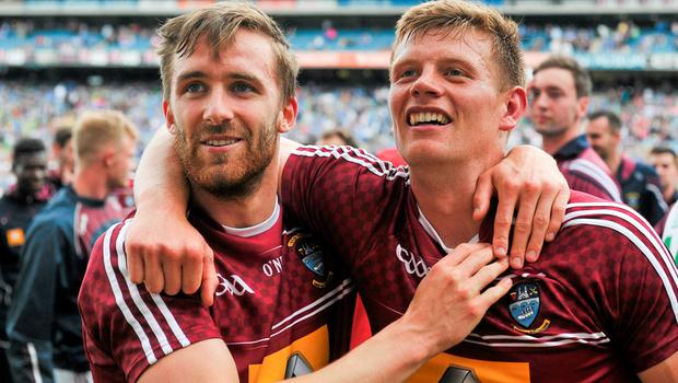 28 June 2015; Westmeath players Kevin Maguire, left, and John Heslin, celebrate after the game. Leinster GAA Football Senior Championship, Semi-Final, Westmeath v Meath. Croke Park, Dublin. Picture credit: Dáire Brennan / SPORTSFILE