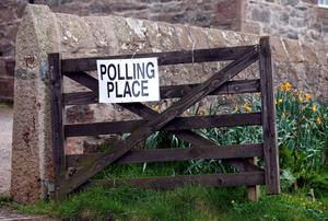 A Polling Station sign on a gate in Collieston, Aberdeenshire as Britain goes to the ballot box today in the most uncertain General Election for decades, with no party on course to emerge a clear winner. Photo: Andrew Milligan/PA Wire