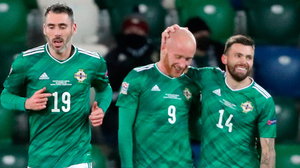 Northern Ireland's Liam Boyce (centre) celebrates scoring his side's goal.