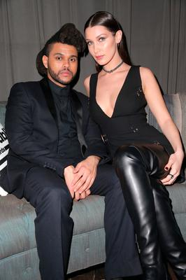 Recording artist The Weeknd (L) and model Bella Hadid attend the Republic Records Grammy Celebration presented by Chromecast Audio at Hyde Sunset Kitchen & Cocktail on February 15, 2016 in Los Angeles, California.  (Photo by Imeh Akpanudosen/Getty Images for Republic Records)