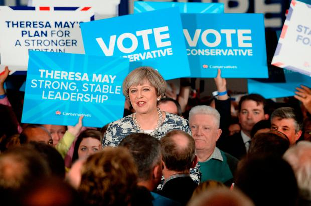 Prime Minister Theresa May speaking at a rally in Birmingham while on the General Election campaign trail. Stefan Rousseau/PA Wire
