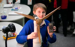 Jospeh O Donighue from St Josephs College Tipperary with project Solar Sleeve during the BT Young Scientist & Technology Exhibition at the RDS, Dublin. Photo: Gareth Chaney Collins