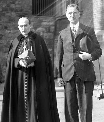 'The entire context of the Constitution, which was drafted hand in glove with the Catholic hierarchy in 1937, is outmoded.' Taoiseach Eamon de Valera pictured with Archbishop John Charles McQuaid, who helped him draft that document, in 1940
