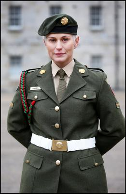 Former Rose of Tralee and MEP Candidate Trooper Maria Walsh  attenda a military parade commemorating the 90th Anniversary of the foundation of Reserve Defence Forces