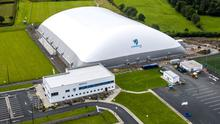 An aerial view of the state-of-the-art Connacht GAA Air Dome in Bekan, Co Mayo. Photo: INPHO