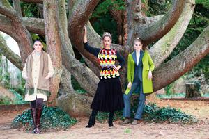 Kelly (left) wears a yellow ochre herringbone tweed coat and textured scarf by Avoca; Thalia (centre) wears a multicoloured mosaic knit sweater by Mary Callan; Eve wears a lime tailored wool coat over tweed trouser suit, by Celtic Tweeds Photos: Leon Farrell/Photocall Ireland