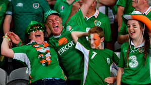 Republic of Ireland supporters ahead of the pivotal Group E match against Italy in Lille, . Photo by Stephen McCarthy / Sportsfile