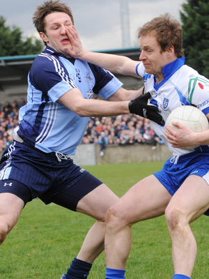 Monaghan's Dermot McArdle, hands off Dublin's Kevin Bonner during the Allianz National Football League, Division 2, Round 4 match Parnell Park in March 2008