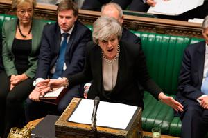British Prime Minister Theresa May addresses the House of Commons last night. Picture: UK Parliament/Mark Duffy/PA Wire
