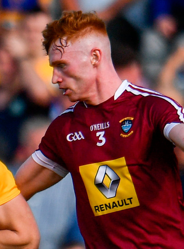 A Ronan Wallace goal helped Westmeath advance to the semi-final of the O'Byrne Cup. Photo: Sportsfile