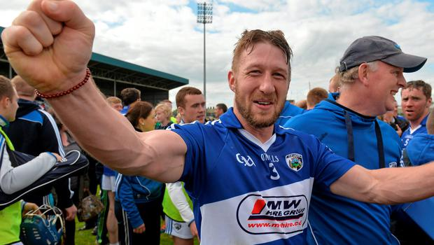Cahir Healy celebrates Laois's Leinster SHC win earlier this month SPORTSFILE