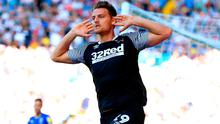 Derby County's Chris Martin celebrates scoring his side's equaliser during the Sky Bet Championship match at Elland Road, Leeds. Photo credit: Mike Egerton/PA Wire