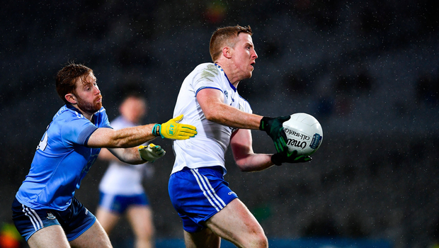 Kieran Duffy of Monaghan in action against Aaron Byrne of Dublin. Photo by Ray McManus/Sportsfile