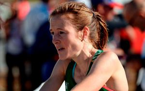 Fionnuala McCormack of Ireland reacts after finishing in fifth place in the Women's senior race at the 2016 Spar European Cross Country Championships in Chia, Italy. Photo by Eóin Noonan/Sportsfile