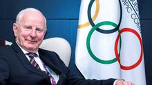 Pat Hickey at the 2015 European Games in Baku as President of the European Olympic Committees. Photo: Getty/AFP