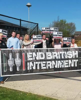 Supporters of high profile dissident republican activist Damien 'Dee' Fennell pictured outside Craigavon Magistrates Court. Photo: Lesley-Anne McKeown/PA Wire
