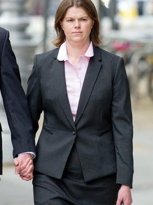 Pic Shows: Sandra Higgins arriving at Dublin Circuit Criminal Court for the opening of her trial, Tuesday 16-05-2015. Re: Sandra Higgins (34) of The Beeches, Drumgola Wood, Cavan town, pleaded not (NOT) guilty at Dublin Circuit Criminal Court to intentionally or recklessly causing serious harm to the baby at her home on March 28, 2012. Pic: Court Collins.