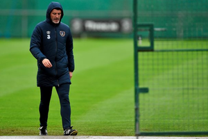 Republic of Ireland assistant manager Roy Keane at the squad training this morning.