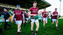 Galway players Paul Killeen, Cathal Mannion, Joe Canning and Adrian Tuohy break away from the pre-match team photograph before their Allianz Hurling League Division 1B Round 4 match against Kerry at Austin Stack Park, Tralee. Photo: Diarmuid Greene/Sportsfile
